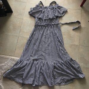 Striped off shoulder ruffle maxi dress, new Medium